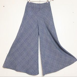 Vintage Wippette Navy & White Plaid Wide Leg Pants